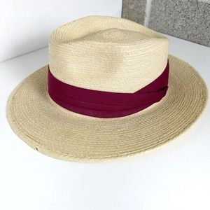 Straw Palm Leaves Hat with Burgundy Band